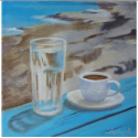 Greek morning - painting by artist Angeliki - 20x20cm