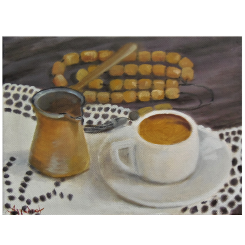 Greek flavor - painting by artist Angeliki - 18x24 cm