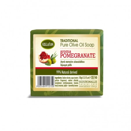 Olive Oil Soap Pomegranate - 100g - Kalliston