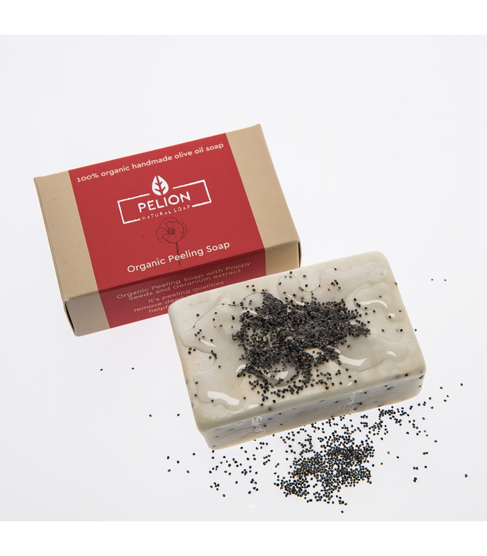 Organic soap - peeling with poppy and geranium flavor