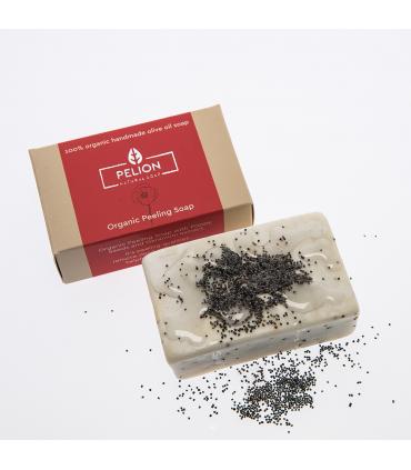 Organic soap - peeling with poppy and geranium flavor
