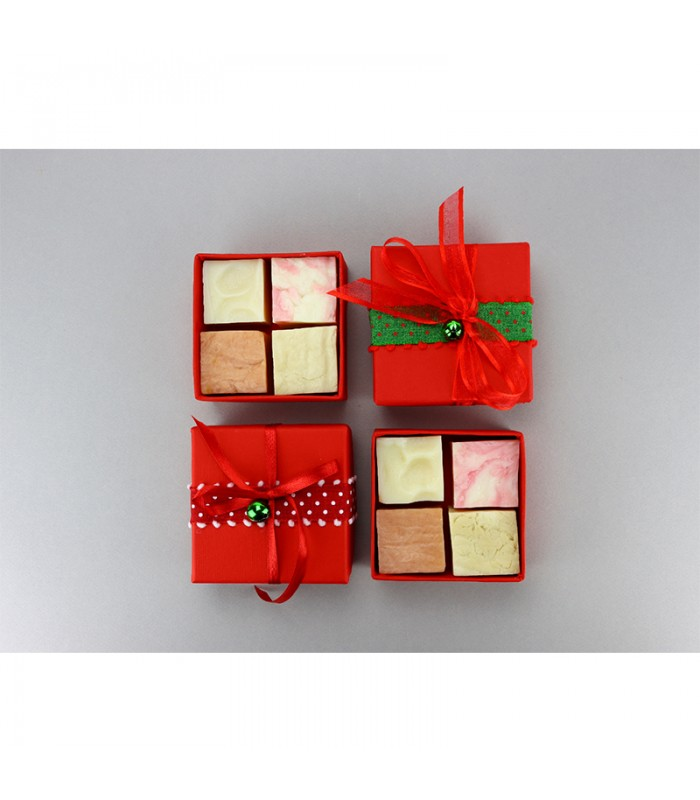 Christmas red gift box 4 soap cubes
